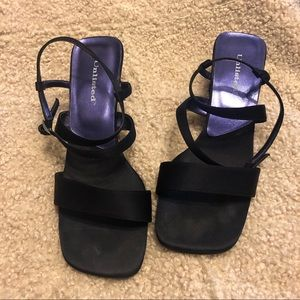 UNLISTED Navy Square Toe Satin Sandals Size 9.5